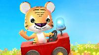 Малыш Тигр и Слоник едут на Пожарной Машинке - Игровой Мультик для малышей. Носики Курносики